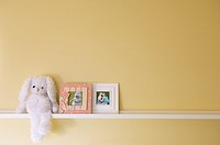 Shelf with stuffed toy rabbit and photo frames