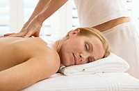 Woman enjoys a massage