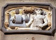 Groß Gastrose bei Guben, Neiße-Mühle/ Relief ´´Der Wasserkraftwerker´´´´