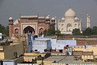 Taj Mahal. Seen from Hotel Rooftop in Tan Ganj. Uttar Pradesh. Agra. India.