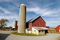 Red Amish Barn in Ohion with Silo for feed for cattle