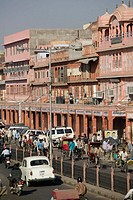 Traffic. Chandpol Bazaar. Old Jaipur. Jaipur. Rajasthan. India.