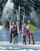 10246419, family, group, canton Bern, cross_country skiing, Lenk, portrait, snow cloud, Switzerland, Europe, skis, ski, skiing