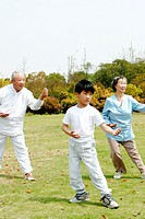 a boy practicing tai chi with his grandparents in the park.