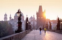 Spires of the old town, Charles Bridge, Prague, Czech Republic
