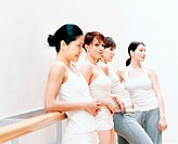 Four Female Dancers Leaning Against a Wall