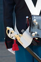 Detail of guards uniform at Amalienborg Palace, Copenhagen, Denmark