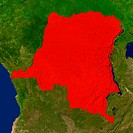 Highlighted satellite image of the Democratic Republic of the Congo