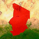 Highlighted satellite image of Chad