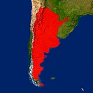 Highlighted satellite image of Argentina