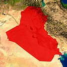 Highlighted satellite image of Iraq