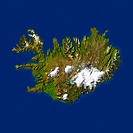 Highlighted satellite image of Iceland