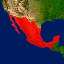 Highlighted satellite image of Mexico