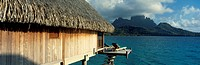 Bungalow on pile and its terrace over the lagoon of Bora Bora