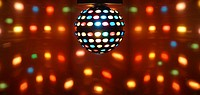 Ball of colored lights in the ballroom of a nightclub