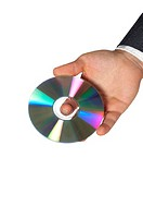 Close-up of a businessman holding a compact disk (thumbnail)