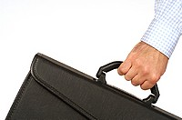 Close-up of a businessman holding a briefcase