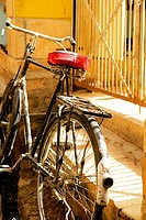 Close-up of a bicycle, Jaisalmer, Rajasthan, India (thumbnail)