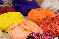 High angle view of multi colored turbans, Jaisalmer, Rajasthan, India