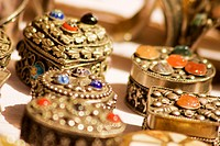 Close-up of silver boxes, Jaisalmer, Rajasthan, India