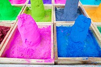 Close-up of mounds of colored powder used for Hindu rituals, Pushkar, Rajasthan, India