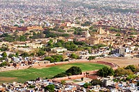 High angle view of a city, Nahargarh Fort, Jaipur, Rajasthan, India