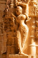 Statue carved on the wall of a temple, Jaisalmer, Rajasthan, India