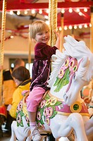 Burnaby Heritage Village Carousel, 4 year old Caucasian girl