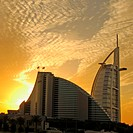 Burj Al Arab and Jumeirah Beach Hotel at sunset, Dubai, UAE