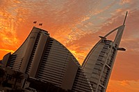Jumeirah Beach Hotel and Burj Al Arab Hotel at sunset, Dubai, UAE