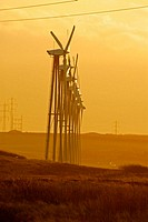 The haze and the low winter sun gives the windpark and the landscape and eiry feel and glow to it