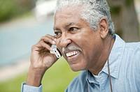 Elderly man on cell phone.