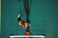 Above View of Man Making Slam Dunk