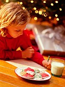 Girl Writing Note to Santa