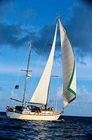 Sailboat Sailing on the Caribbean