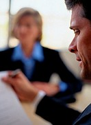 Close-up of a Businessman at a Meeting