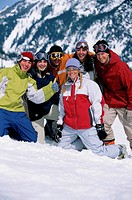 USA, Washington, Snoqualmie Pass, skiiers posing in gear, portrait