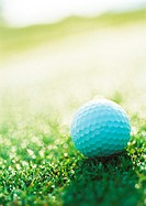 Golf ball on green, close-up