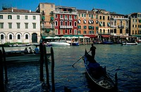 Gondolas along the Grand Canal in Venice
