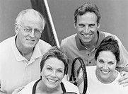 Portrait of a Group of Smiling Tennis Players