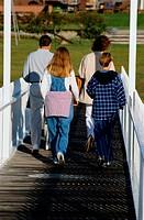Family Walking on a Dock