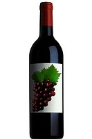 Bottle of wine with grapes on label