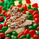 Cookie in shape of Christmas tree, surrounded by jelly beans