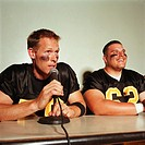 Football players in press conference