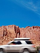 USA, Utah, Burr Trail, car (blurred motion)