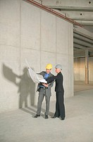 Businessman and woman wearing hard hats, looking at blue print