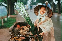 Vietnam, Hanoi, woman on her way to market