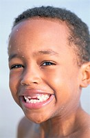 Portrait of a Young Boy Missing His Front Teeth