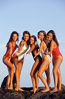 Group of young women in swimsuits