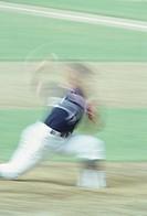 Baseball pitcher pitching, Seoul Olympics, (blurred  motion)